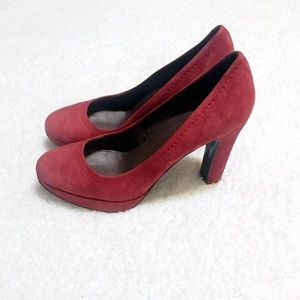J Crew suede burgundy red high heels pumps size 8